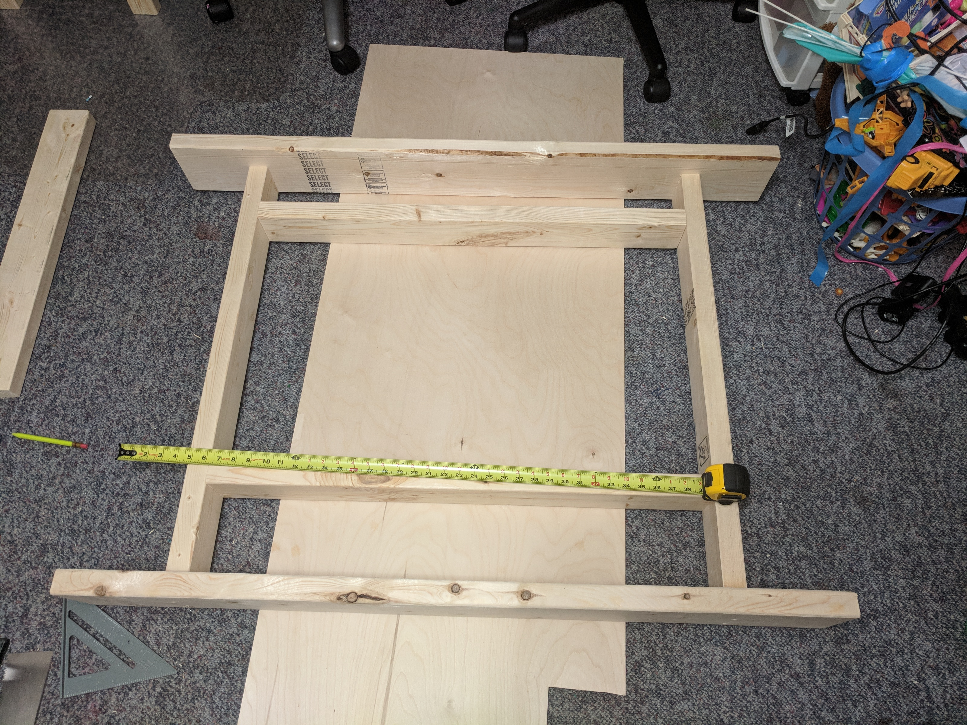 Frame for the tabletop. Built upside down.