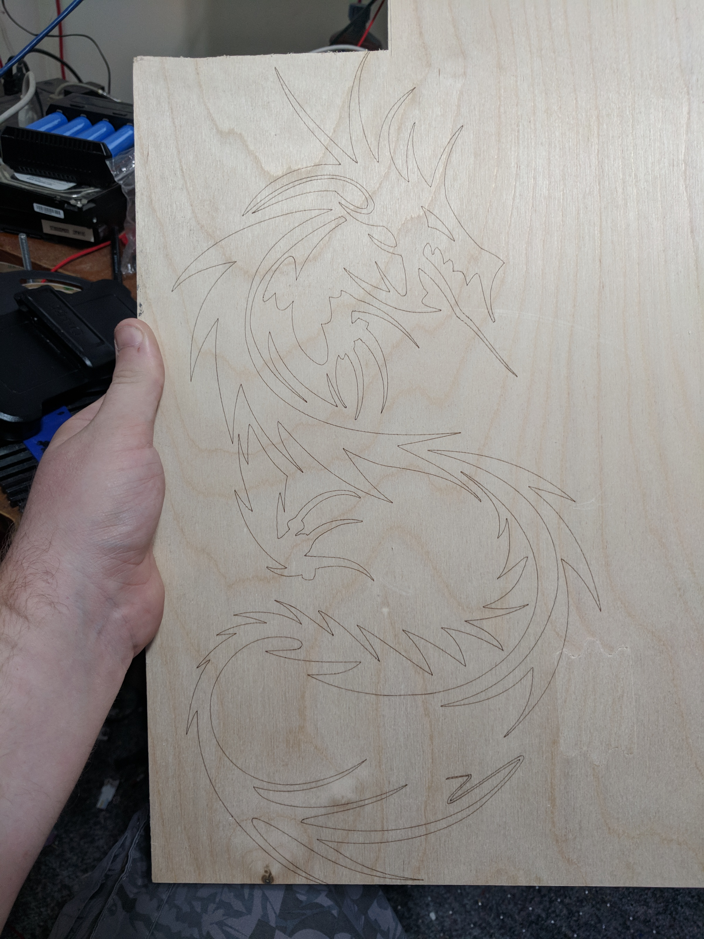 Testing the dragon design on a scrap